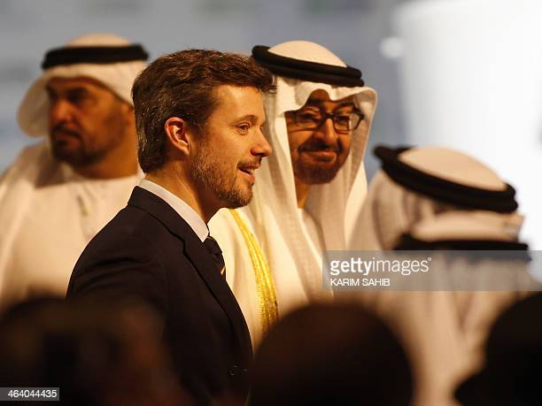 Crown Prince of Abu Dhabi Sheikh Mohammed bin Zayed alNahyan and Danish crown Prince Frederik arrive for the opening of the World Future Energy...
