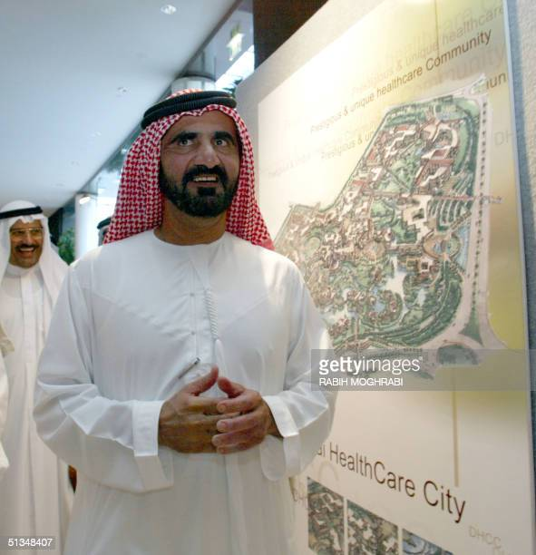 Crown Prince of Dubai and Emirati Defense Minister Sheikh Mohammed bin Rashed alMaktum arrives for a press conference to announce plans for a...