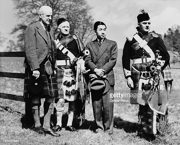 Crown Prince of Japan Akihito during a visit to Blair Castle Perthshire Scotland 9th May 1953 With him are James StewartMurray 9th Duke of Atholl...