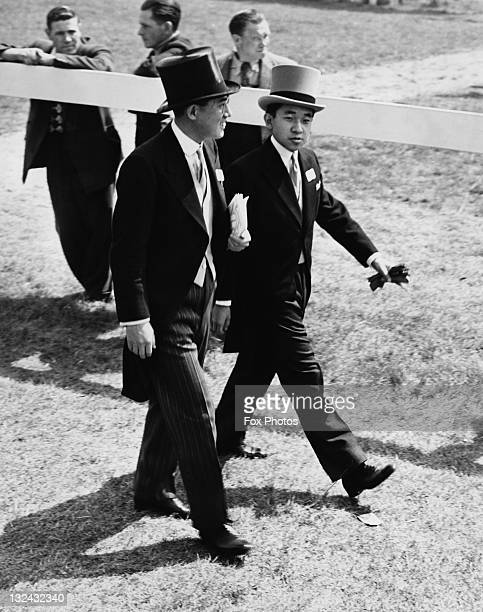 Crown Prince of Japan Akihito making his way to the Royal Box after viewing the horses in the paddock at the Derby Epsom Surrey 6th June 1953