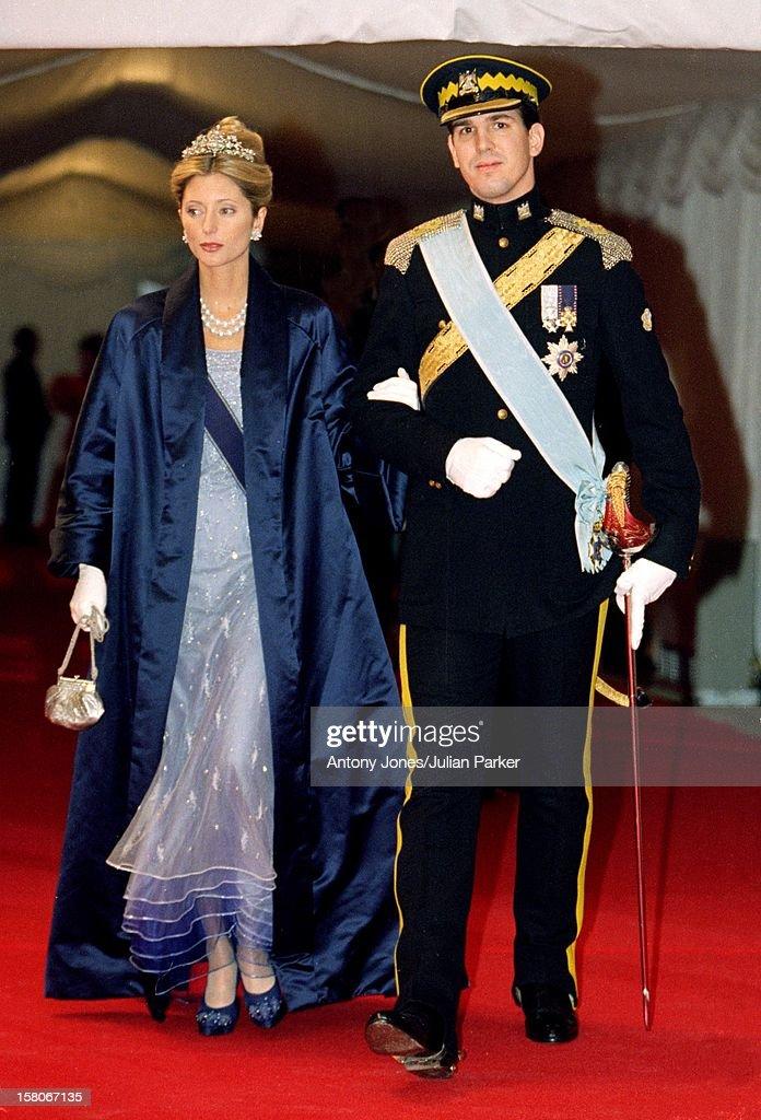 Crown Prince Pavlos & Crown Princess Marie Chantal Of Greece Attend The Wedding Of Prince Joachim & Princess Alexandra Of Denmark At Frederiksborg Castle. .