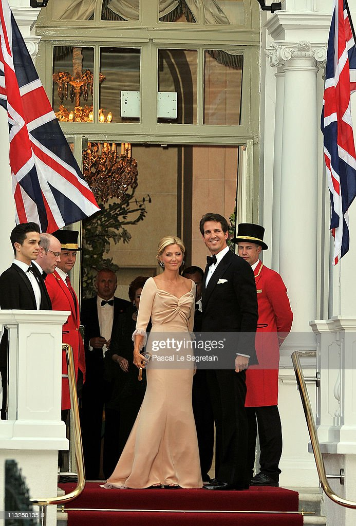 Crown Prince Pavlos of Greece (L) and Crown Princess Marie-Chantal of Greece arrive at a gala pre-wedding dinner held at the Mandarin Oriental Hyde Park on April 28, 2011 in London, England.