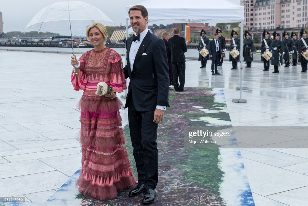 Crown Prince Pavlos of Greece, Princess Marie-Chantal, Greece arrives at the Opera House on the occasion of the celebration of King Harald and Queen Sonja of Norway 80th birthdays on May 10 2017 in Oslo, Norway.