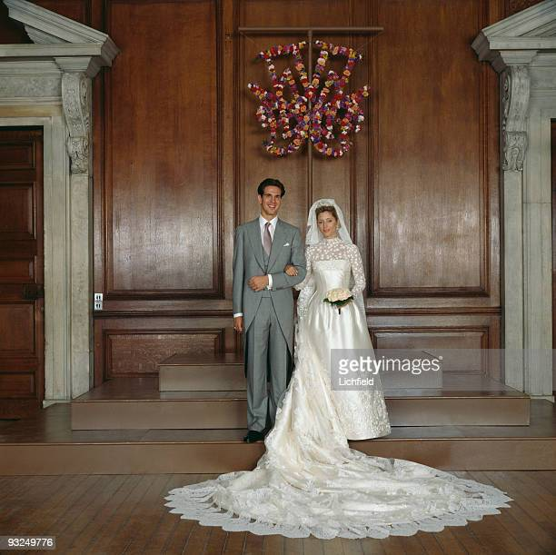 Crown Prince Pavlos of the Hellenes with Crown Princess MarieChantal at Hampton Court Palace on 1st July 1995 The bride was born MarieChantal Miller...