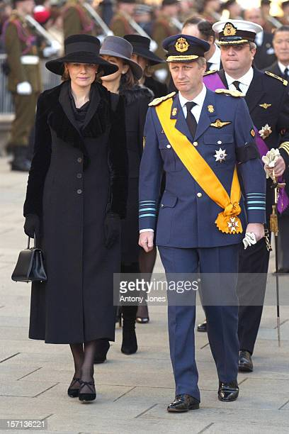 Crown Prince Philippe Crown Princess Mathilde Of Belgium Attend The Funeral Of Grand Duchess JosephineCharlotte Of Luxembourg At The Cathedral...