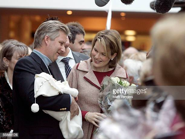 Crown Prince Philippe of Belgium and his wife Princess Mathilde leave the Erasmus Hospital with their new son Prince Emmanuel Leopold Guillome born...