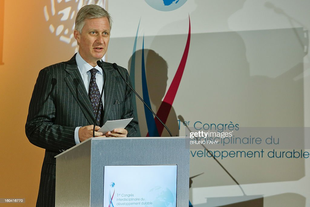 Crown Prince Philippe of Belgium delivers a speech at the opening of the first interdisciplinary congress on sustainable development on January 31, 2013 in Namur.