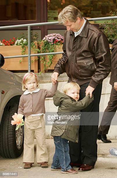 Crown Prince Philippe Prince Gabriel and Princess Elisabeth of Belgium arrive at the Erasmus Hospital to visit Crown Princess Mathilde who gave birth...
