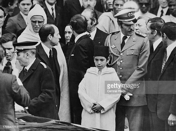 Crown Prince Sidi Mohammed representing his father King Hassan II of Morocco at a memorial service for the late French President Georges Pompidou at...