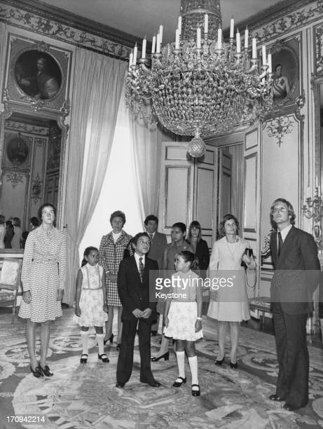 Crown Prince Sidi Mohammed with two of his sisters at the Elysee Palace Paris during a visit to French President Giscard d'Estaing 13th September...