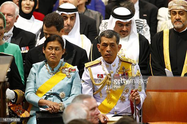 Crown Prince Vajiralongkorn of Thailand and Princess Sirindhorn of Thailand attend the inauguration of HM King Willem Alexander of the Netherlands...