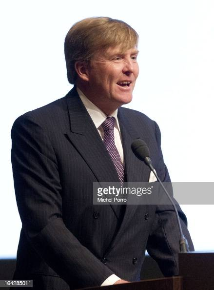 Crown Prince Willem Alexander of The Netherlands gives a keynote speech during World Water Day on March 22 2013 in The Hague Netherlands