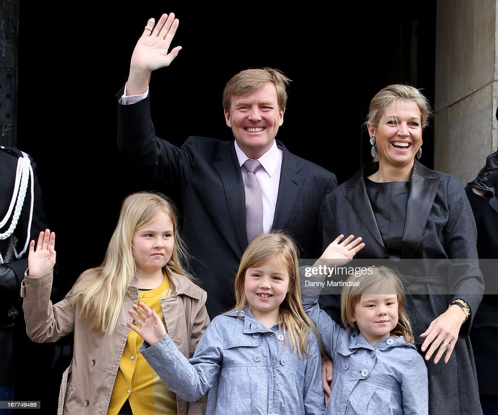 Crown Prince Willem Alexander, Princess Maxima of The Netherlands and children Princess Amalia, Princess Alexia and Princess Ariane arrive for an inauguration rehearsal at the Royal Palace on the Dam on April 29, 2013 in Amsterdam, Netherlands.