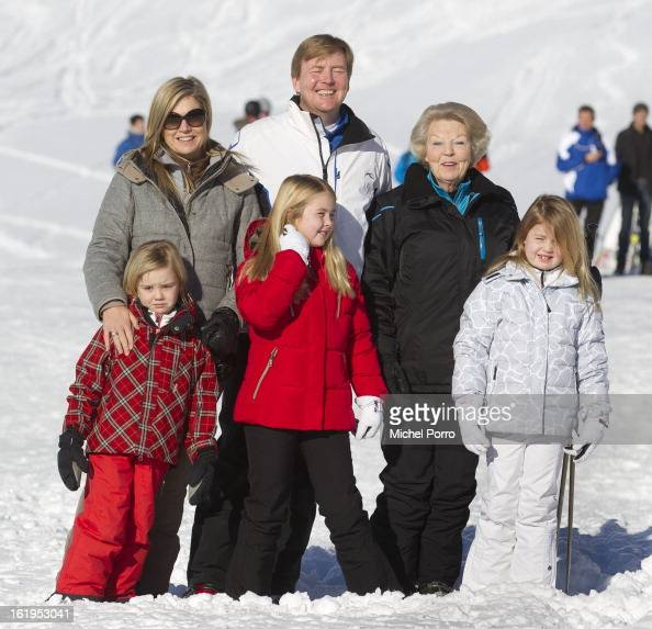 Crown Prince Willem Alexander Princess Maxima Princesses Alexia Amalia Ariane and Queen Beatrix of The Netherlands pose at the annual winter...