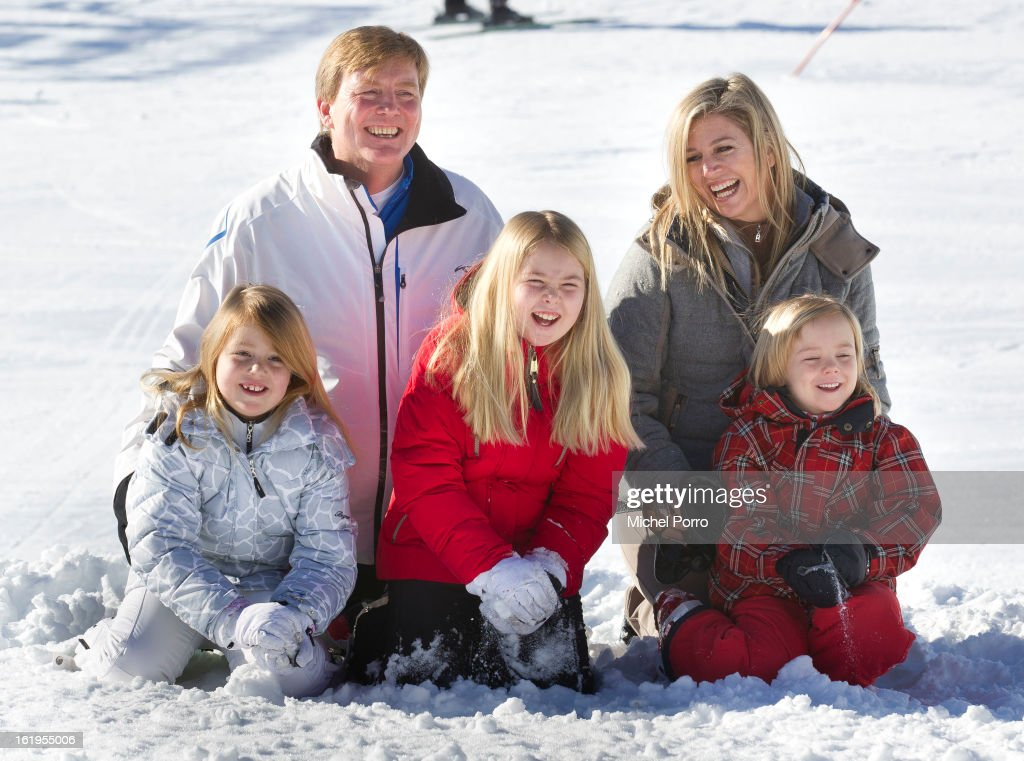 Crown Prince Willem Alexander, Princess Maxima, Princesses Alexia, Amalia and Ariane of The Netherlands pose at the annual winter photocall on February 18, 2013 in Lech, Austria.