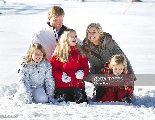 Crown Prince Willem Alexander Princess Maxima Princesses Alexia Amalia and Ariane of The Netherlands poses at the annual winter photocall on February...