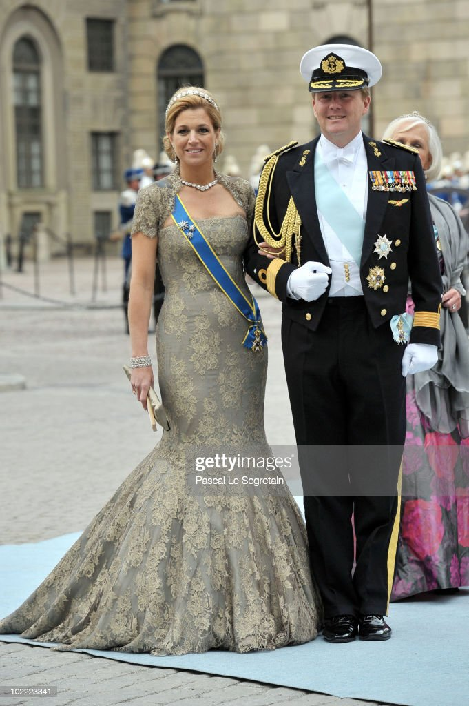 Crown Prince Willem-Alexander and Crown Princess Maxima attend the wedding of Crown Princess Victoria of Sweden and Daniel Westling on June 19, 2010 in Stockholm, Sweden.