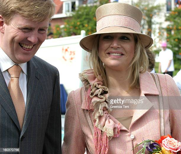 Crown Prince WillemAlexander and his wife Princess Maxima of the Netherlands attend the traditional Queens Day celebrations on April 30 2005 in...