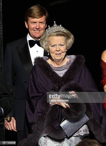 Crown Prince WillemAlexander of the Netherlands and Queen Beatrix Of The Netherlandsleaves the Royal Palace on the Dam for a dinner hosted by Queen...
