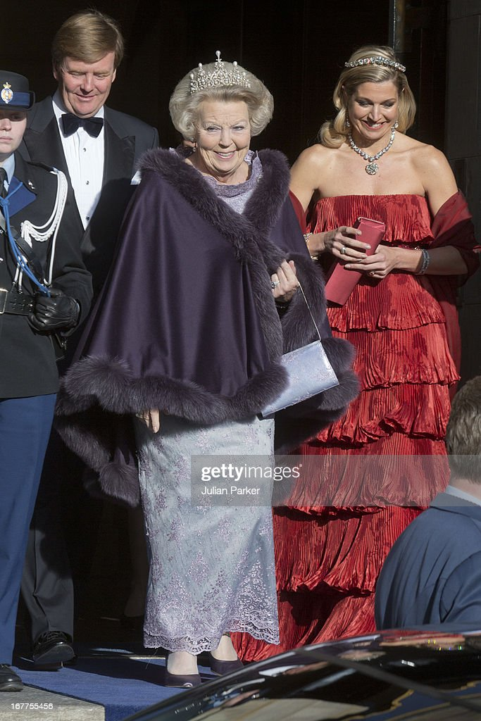 Crown Prince Willem-Alexander of the Netherlands, Princess Maxima of the Netherlands and Queen Beatrix Of The Netherlands leave The Royal Palace in Amsterdam to attend a dinner hosted by Queen Beatrix of The Netherlands ahead of her abdication at the Rijksmuseum on April 29, 2013 in Amsterdam, Netherlands.