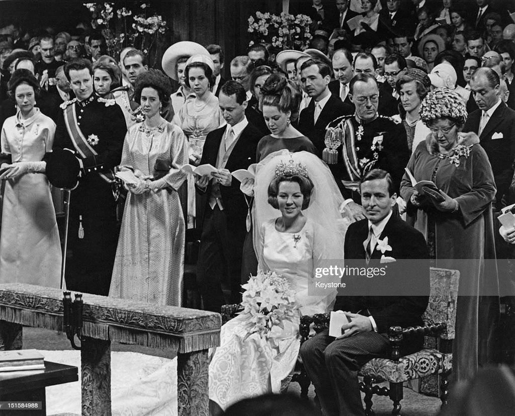 Crown Princess Beatrix of the Netherlands and Claus von Amsberg at their wedding in the Westerkerk Amsterdam 10th March 1966 Directly behind the...