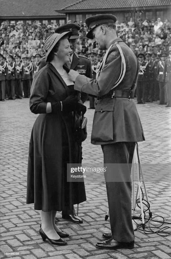 Crown Princess Beatrix of the Netherlands is invested with the rank of Colonelinchief of the Royal Infantry by Brigadier General W Kist during a...