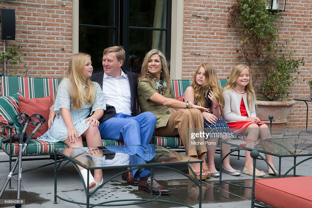 Crown Princess Catharina Amalia, King Willem-Alexander, Queen Maxima, Princess Alexia and Princess Ariane of The Netherlands pose for pictures during the annual summer photo call at their residence Villa Eikenhorst on July 8, 2016 in Wassenaar, Netherlands.