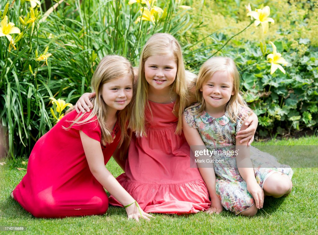 Crown Princess Catharina-Amalia of the Netherlands, Princess Alexia of the Netherlands and Princess Ariane of the Netherlands attend the annual Summer photocall at Horsten Estate on July 19, 2013 in Wassenaar, Netherlands.