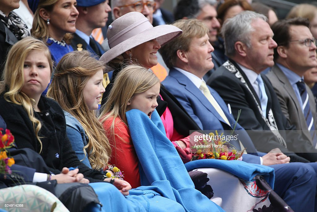 Crown Princess Catharina-Amalia, Princess Alexia of The Netherlands, Princess Ariane of The Netherlands, Queen Maxima of The Netherlands and King Willem-Alexander of The Netherlands attend King's Day (Koningsdag), the celebration of the birthday of the Dutch King, on April 27, 2016 in Zwolle, Netherlands. Parties and concerts are held across the Netherlands as members of the Dutch royal family oversee festivities.