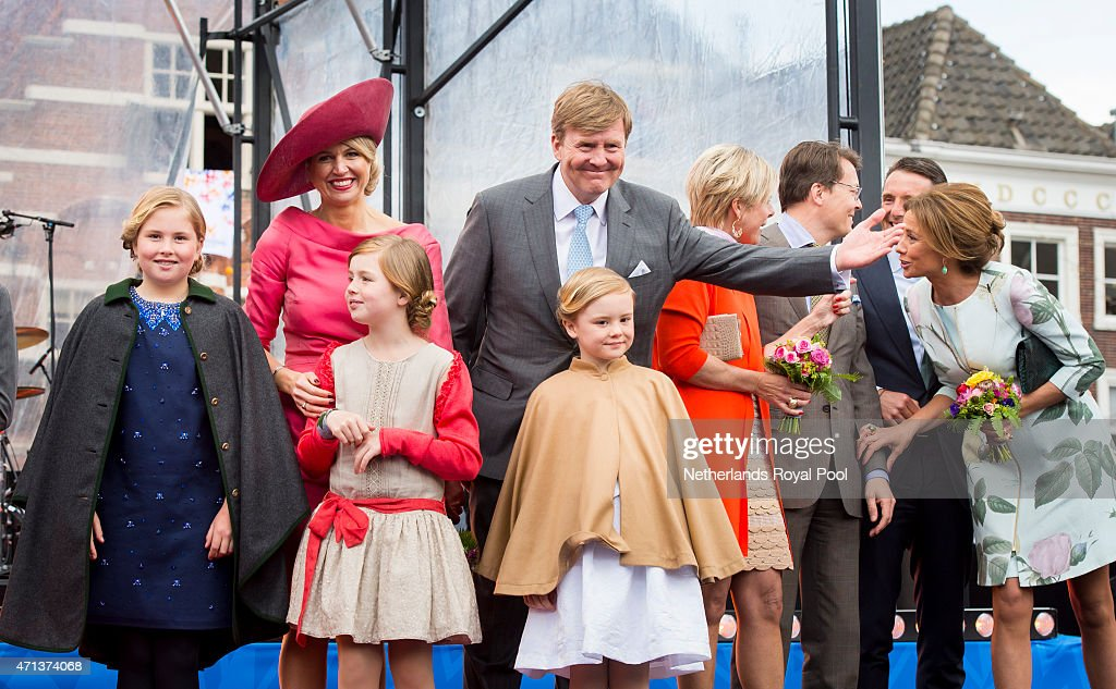 Crown Princess Catharina-Amalia, Queen Maxima, Princess Alexia, King Willem-Alexander and Princess Ariane of The Netherlands participate in King's Day celebrations on April 27, 2015 in Dordrecht, Netherlands.
