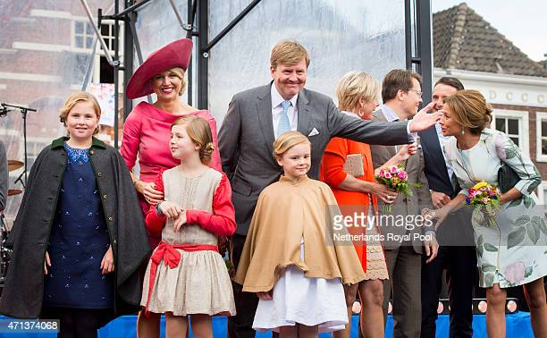 Crown Princess CatharinaAmalia Queen Maxima Princess Alexia King WillemAlexander and Princess Ariane of The Netherlands participate in King's Day...