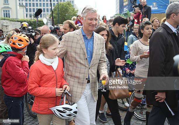Crown Princess Elisabeth and King Philippe of Belgium attend the Car Free in Brussels on September 21 2014 in Brussels Belgium