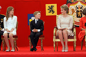 Crown Princess Elisabeth Prince Emmanuel Queen Mathilde of Belgium and King Philippe of Belgium attend the Military Parade to celebrate Belgium's...