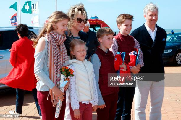Crown Princess Elisabeth Princess Eleonore Queen Mathilde of Belgium Prince Emmanuel Prince Gabriel and King Philippe of Belgium pose during a rescue...