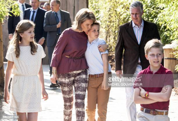 Crown Princess Elisabeth Queen Mathilde of Belgium Prince Gabriel King Philippe of Belgium and Prince Emmanuel pictured during a photoshoot of the...