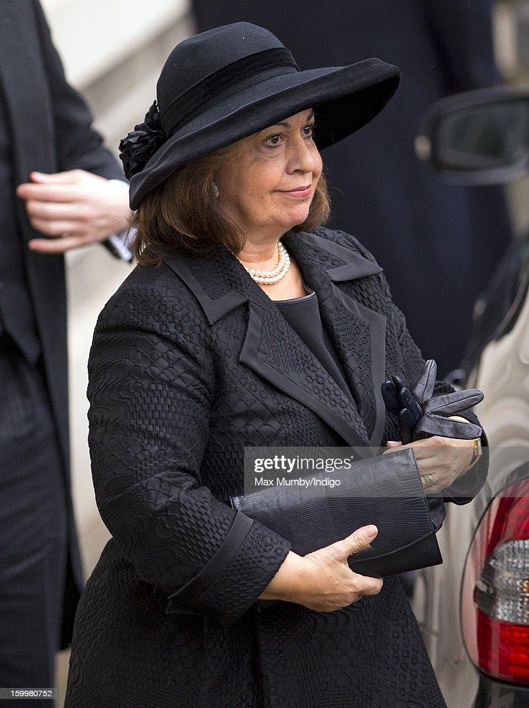 Crown Princess Katherine of Yugoslavia attends the funeral of Princess Margarita of Baden, niece of Prince Philip, Duke of Edinburgh at the Serbian Orthodox Church of Saint Sava on January 24, 2013 in London, England.
