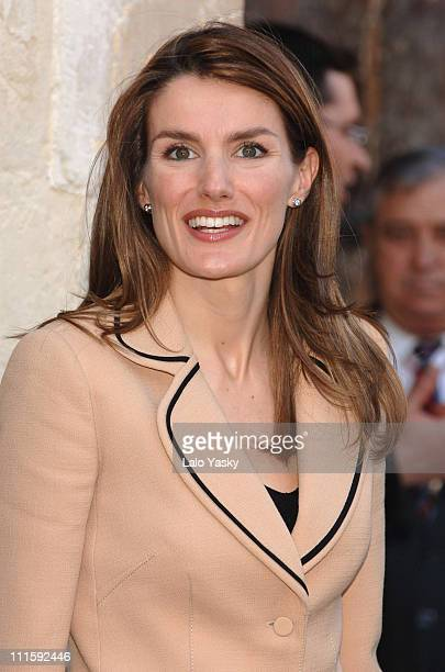 Crown Princess Letizia during Crown Prince Felipe and Crown Princess Letizia Visit a Spanish Chocolate Factory a Shoe Manufacturer and ElcheIes City...