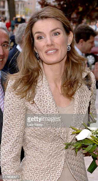 Crown Princess Letizia during Prince Felipe and Princess Letizia Visit Burgos Cathedral April 27 2006 at Burgos Cathedral in Burgos Burgos Spain