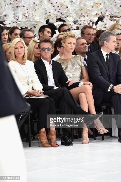 Crown Princess Marie Chantal of Greece Sean Penn Charlize Theron and Bernard Arnault attend the Christian Dior show as part of Paris Fashion Week...