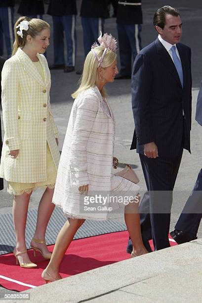 Crown Princess MarieChantal Greek Princess Theodora and Greek Prince Nikolaos arrive at the Danish Parliament May 13 2004 in Copenhagen Denmark Mary...