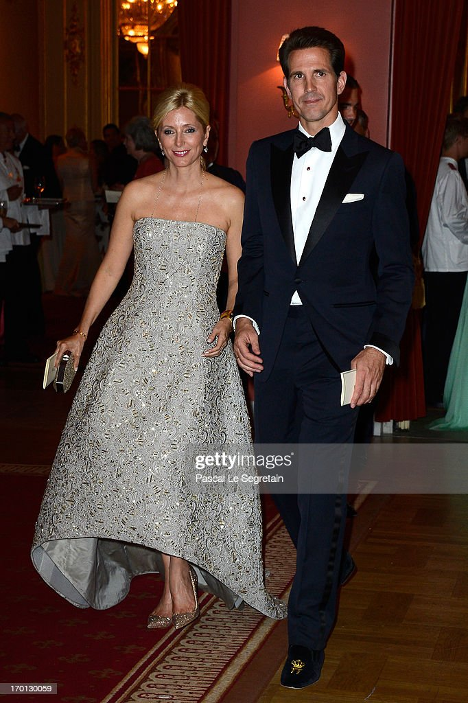 Crown Princess Marie-Chantal of Greece and Crown Prince Pavlos of Greece attend a private dinner on the eve of the wedding of Princess Madeleine and Christopher O'Neill hosted by King Carl XVI Gustaf and Queen Silvia at The Grand Hotel on June 7, 2013 in Stockholm, Sweden.