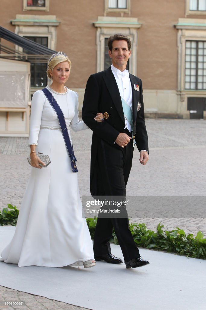Crown Princess Marie-Chantal of Greece and Crown Prince Pavlos of Greece attend the wedding of Princess Madeleine of Sweden and Christopher O'Neill hosted by King Carl Gustaf XIV and Queen Silvia at The Royal Palace on June 8, 2013 in Stockholm, Sweden.