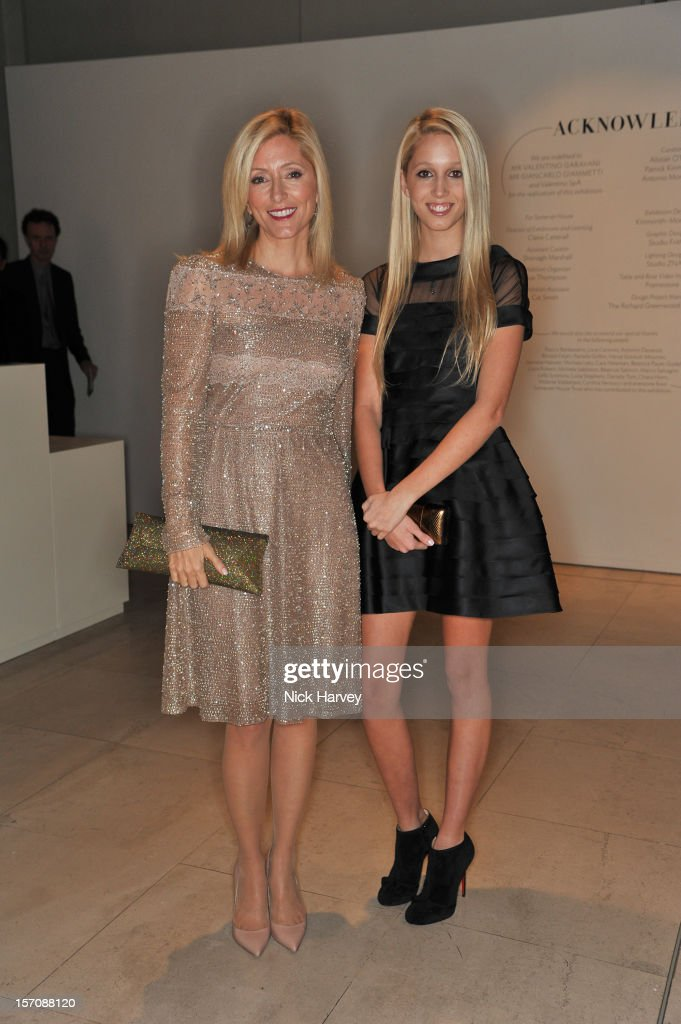 Crown Princess Marie-Chantal of Greece and Princess Maria Olympia of Greece attend the VIP view of Valentino: Master of Couture at Embankment Gallery on November 28, 2012 in London, England.