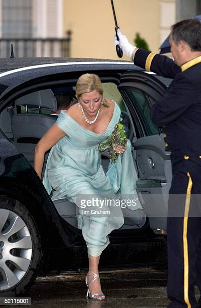 Crown Princess Mariechantal Of Greece Arriving For A Gala Dinner At El Pardo Palace In Madrid