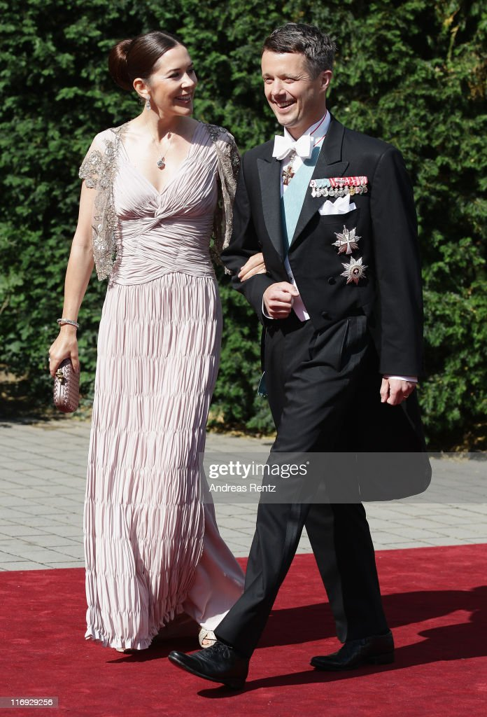 Crown Princess Mary and Crown <a gi-track='captionPersonalityLinkClicked' href=/galleries/search?phrase=Prince+Frederik+of+Denmark&family=editorial&specificpeople=171286 ng-click='$event.stopPropagation()'>Prince Frederik of Denmark</a> arrive for the wedding of Princess Nathalie zu Sayn-Wittgenstein-Berleburg and Alexander Johannsmann at the evangelic Stadtkirche on June 18, 2011 in Bad Berleburg, Germany.