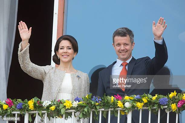 Crown Princess Mary and Crown Prince Frederik of Denmark attend a lunch reception to mark the forthcoming 75th Birthday of the Danish Queen at Aarhus...