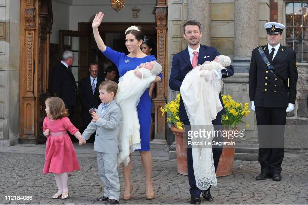 Crown Princess Mary and Crown Prince Frederik of Denmark pose after the christening of their twins Prince Vincent and Princess Josephine at Holmens...