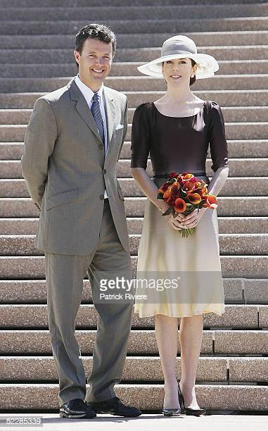 Crown Princess Mary and Crown Prince Frederik of Denmark pose on the steps of the Sydney Opera House March 7 2005 in Sydney Australia