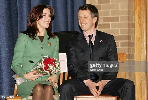 Crown Princess Mary and Crown Prince Frederik of Denmark visit the Hans Christian Anderson School in Harlem February 1 2005 in New York City