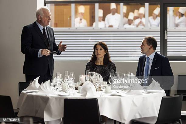 Crown Princess Mary and Icelandic President Gudni Thorlacius Johannesson visit Copenhagen Hospitality School on January 25 2017 in Copenhagen Denmark...